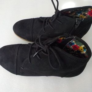 Mad Love Black Faux Suede Ankle Booties
